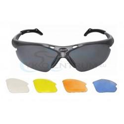 Okuliare športové s vymeniteľnými sklami, čierno-strieborný rám
