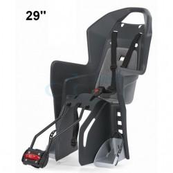 detská sedačka zadná Polisport Koolah 29 na sedlovú trubku, tmavo sivo-strieborná