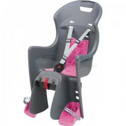detská sedačka zadná Polisport BOODIE na nosič, šedo-ružová