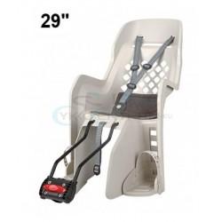 detská sedačka zadná Polisport JOY 29 na sedlovú trubku,krémová-tmavo sivá