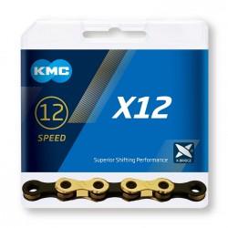 Reťaz KMC X12 Ti-N zlato-čierna, 12.kolo