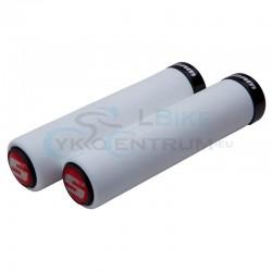 gripy SRAM Locking penové, 129mm, biele s čiernou objímkou a koncovkami